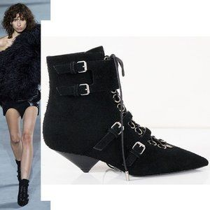 SAINT LAURENT 38 8 Black Suede Blaze Ankle Boots